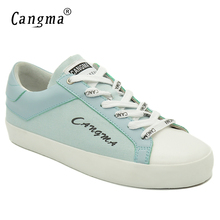 CANGMA Brand Italy Designer Blue Canvas Sneakers Women Shoes Autumn Handmade Ladies Shoes Breathable Woman's Lace-up Footwear(China)