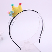 12pcs/lot  fashion hand made Cute fabrics tiaras hairbands 3D crown with knot charms hair bow for baby girls beautiful 4 colors