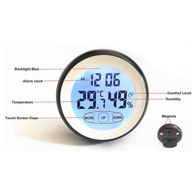 4 kolory plastikowe cyfrowy wyświetlacz LCD temperatura wilgotność funkcji czasu zegar ścienny kryty stacja pogody miernik Tester podświetlenie zegary