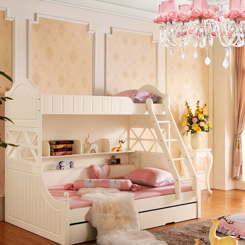 Korean children bed combination Ivory picture up and down ...