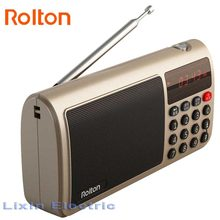Rolton T50 FM Radio Portable World Band Radio FM/AM/SW Radio Mp3 Speaker WAV Music Player TF Card And Flashlight for PC iPod