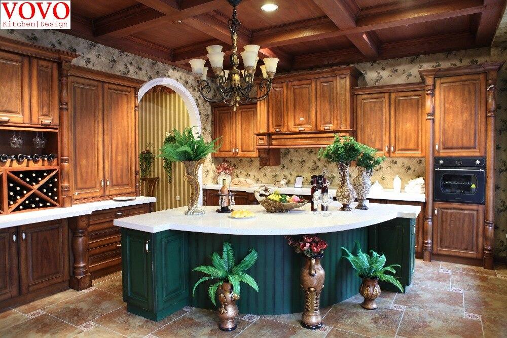 Birch Wood Kitchen Cabinets With Elegant Blue Curvy Island