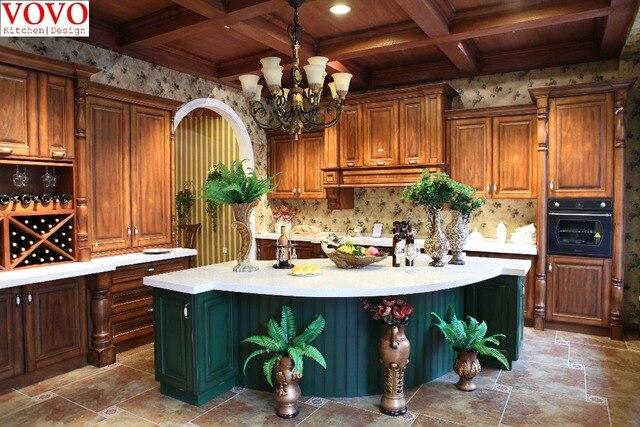 Madera de abedul gabinetes de cocina con azul elegante Curvy isla en ...