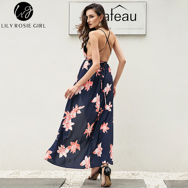 Lily Rosie Girl Women 2017  Off The Shoulder Knee-length Bohemian Style Long Dress Casual V-neck Natural Sexy Dresses Vestidos