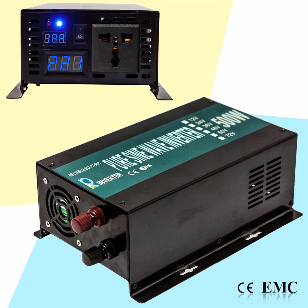 Pure Sine Wave Inverter 12V 24V dc to ac 120V 220V 500W Solar Grid Inverter 500W Power Inverter 500W