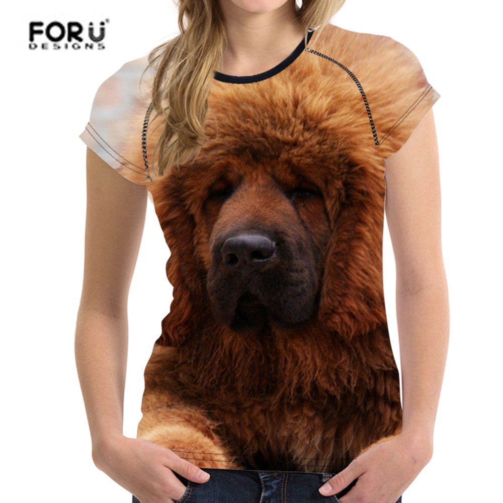 FORUDESIGNS Tibetan Mastiff T Shirt Women 3D Dog Printing Kawaii t shirt Females Fashion T-shirt O Neck Summer Tops Couple Tees