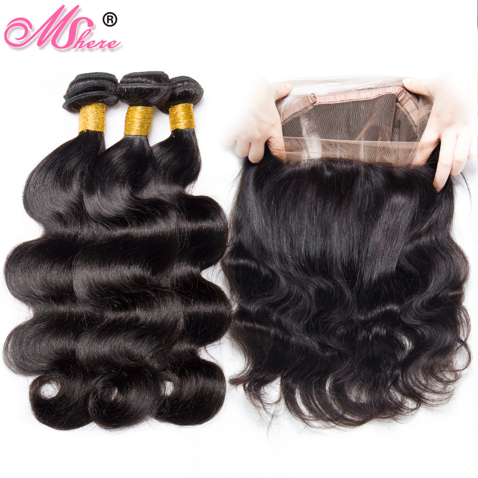 Hair Extensions & Wigs Brazilian Hair Weave Bundles With 360 Lace Frontal Closure 100% Body Wave Human Hair Bundles With 360 Lace Closure Non Remy Hair 3/4 Bundles With Closure