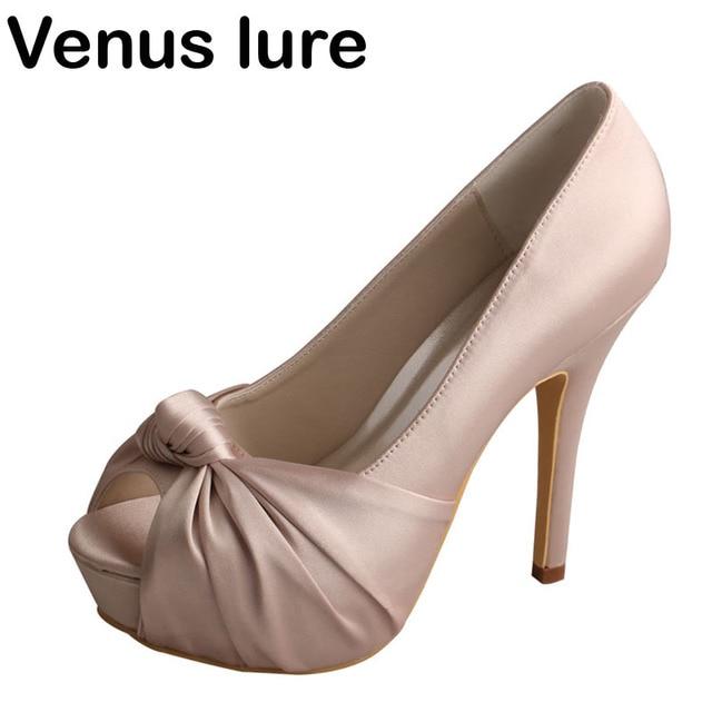 ce9adaa8a5b37 Custom Handmade Nude Platform Heels Wedding Shoes for Bridesmaid Peep Toe