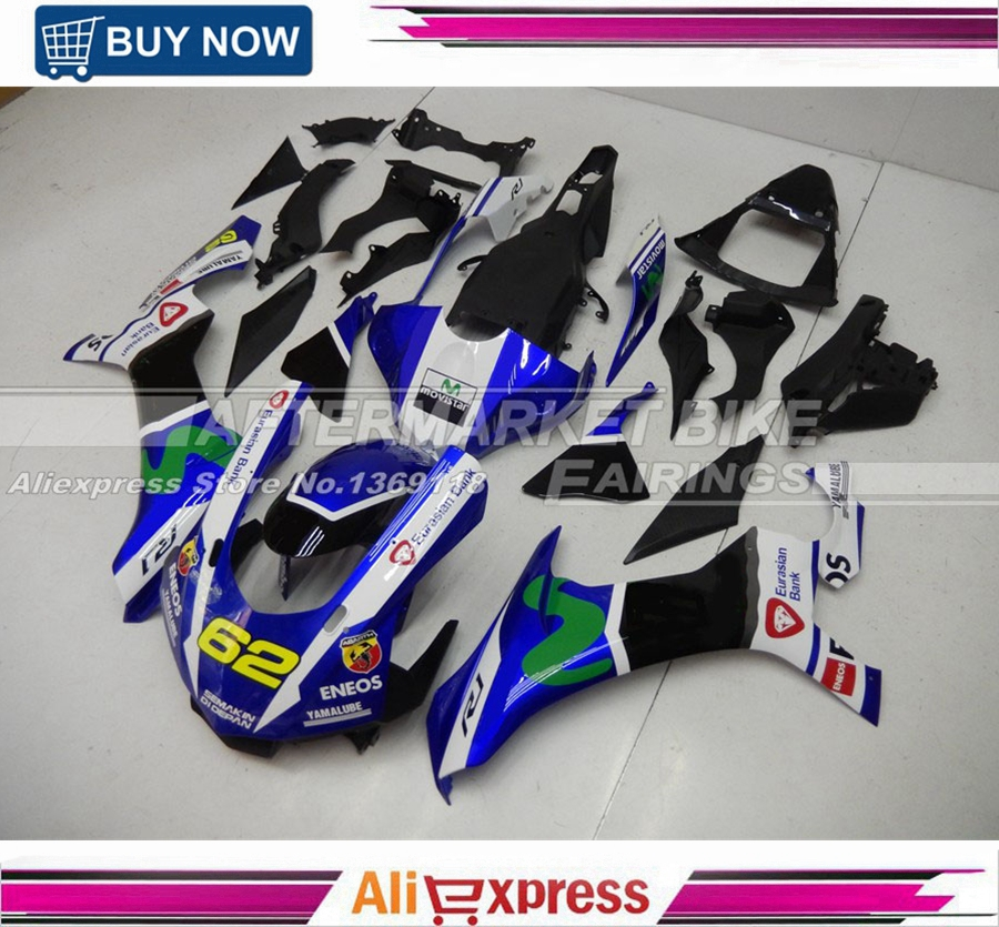 Movistar Blue Complete ABS Fairings For Yamaha Aftermarket Injection Moulding Fairing Kit YZF R1 2015 2016 Model Bodywork motorcycle fairings for yamaha yzf r1000 yzf r1 yzf 1000 r1 2015 2016 2017 yzf1000 abs plastic injection fairing bodywork kit
