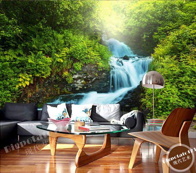 Custom 3D forest mural wallpaper,waterfall wallpaper for walls 3 d,living room tv sofa wall bedroom papel de parede custom green forest trees natural landscape mural for living room bedroom tv backdrop of modern 3d vinyl wallpaper murals