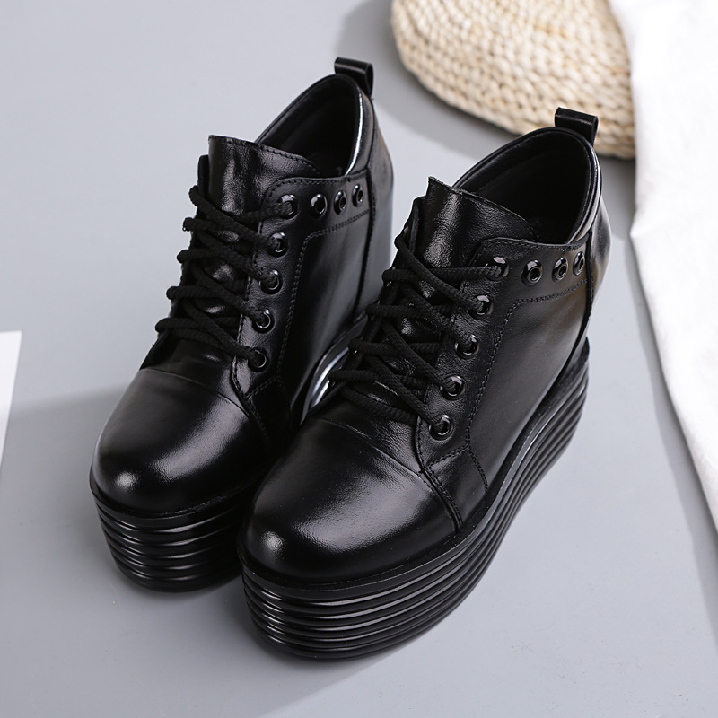 SWYIVY Boots Shoes Platform Woman 2018 Fall Female Casual Ankle Short Boots Genuine Leather Black Rivet Height Increased Boots-in Ankle Boots from Shoes on AliExpress - 11.11_Double 11_Singles' Day 1
