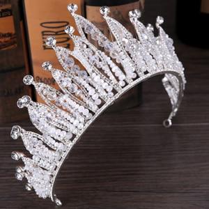 Image 4 - Fashion Luxury Silver Color Tiara Crown Bridal Hairband Rhinestone Crystal Headband Women Hair Jewelry Wedding Hair Accessories