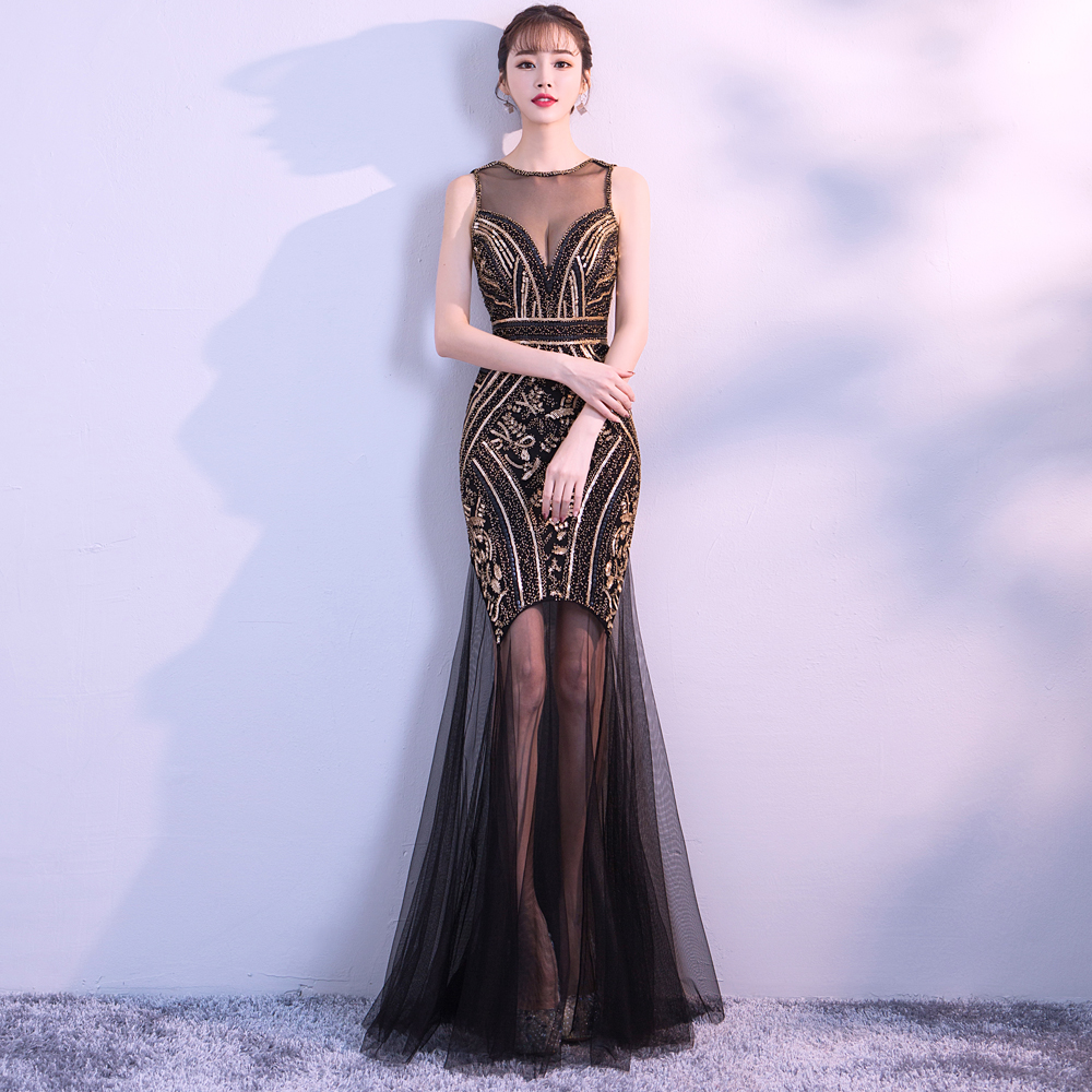 Women Black Sequins Party Long Dress Sexy Stretch  Beads Maxi Dress