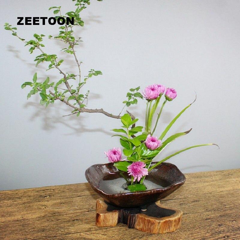 Zen Flower Arrangement Bonsai Ceramic Container Bowl Flower Pot Planters Coarse Pottery Vintage Tabletop Vase Ikebana Jardiniere