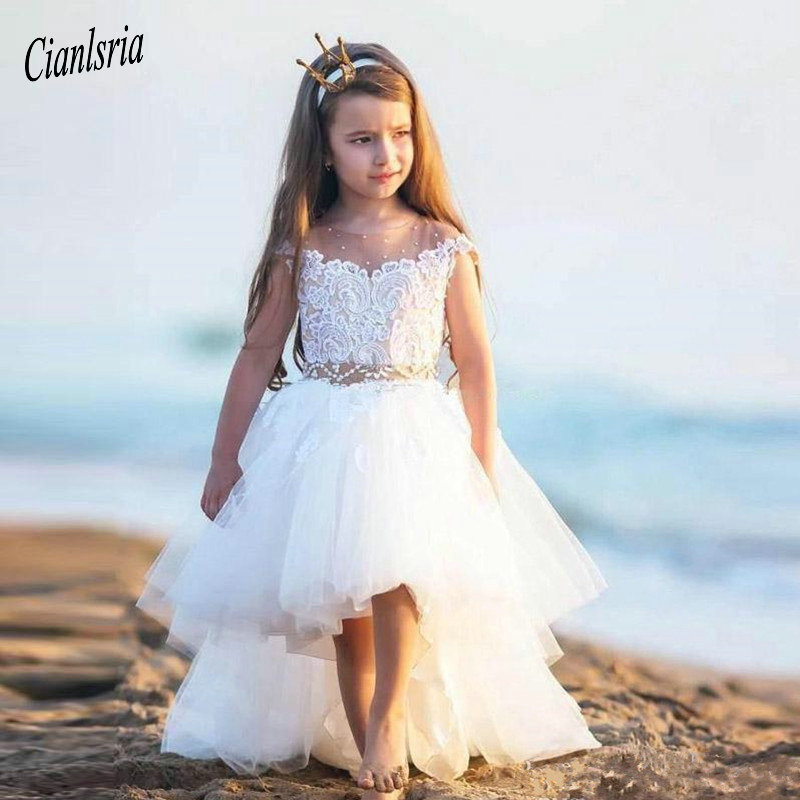 High Low Princess   Dress   Sheer Neck   Flower     Girl     Dress   With Beading For Special Occasion Custom Made Kids Prom   Dresses