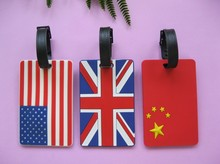Heißer verkauf süße design gute qualität großhandel Flagge namenumbau PVC kofferanhänger travel tag label. Nette lovey schule schreib