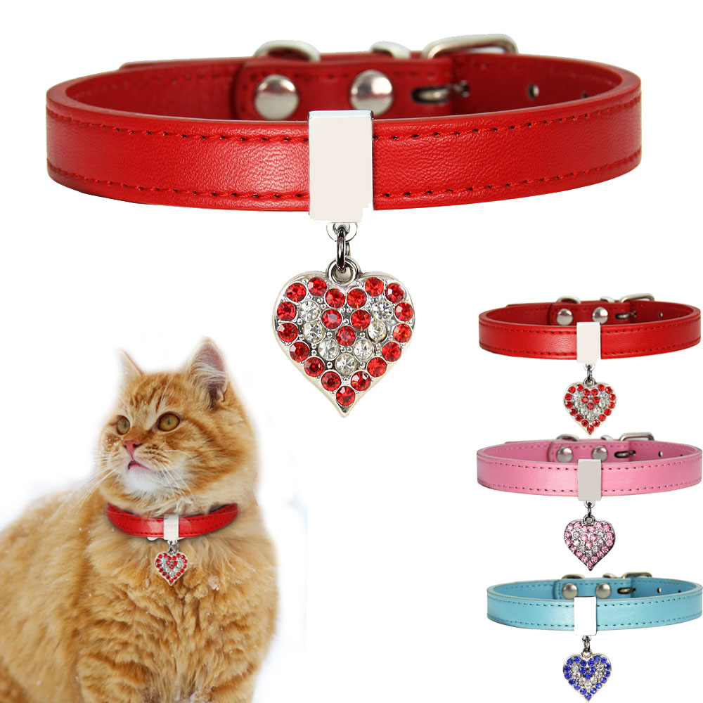Leather Dog Cat Collar Adjustable Puppy Kitten Rhinestone Neck Collars Lead With Bling Heart For Small Cats Pet Accessories