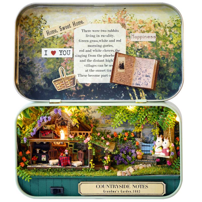 Mini Doll House Assemble Kits Funny Countryside Notes 3D Wooden DIY Handmade Box Theatre Dollhouse Miniature Box Cute Toys mylb 3d wooden diy handmade box theatre dollhouse miniature box cute assemble kits mini doll house gift toys
