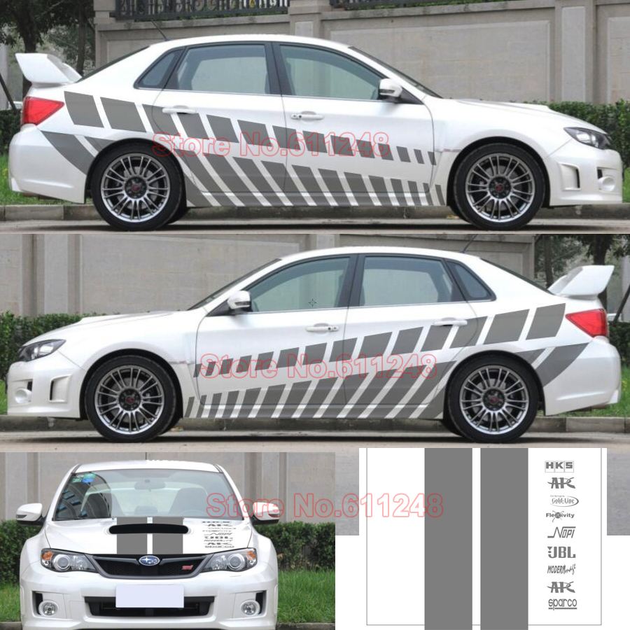 Car Styling Racing sticker Body Waist Car Door Side Scratches Decorative Decals Hood Stickers For Ford VW BMW Audi Mazda Subaru car styling abs chrome body side moldings side door decoration for hyundai ix35