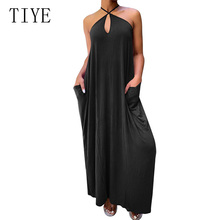 TIYE Hot Selling Spaghetti Strap Casual Loose Pocket Dress Holiday Summer Evening Party Beach Sundress Woman Sleeveless Dresses