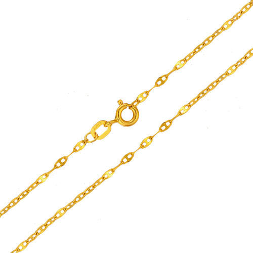 New Authentic 18K Yellow Gold 1.5mm Anchor Link Chain Necklace 40cm LengthNew Authentic 18K Yellow Gold 1.5mm Anchor Link Chain Necklace 40cm Length