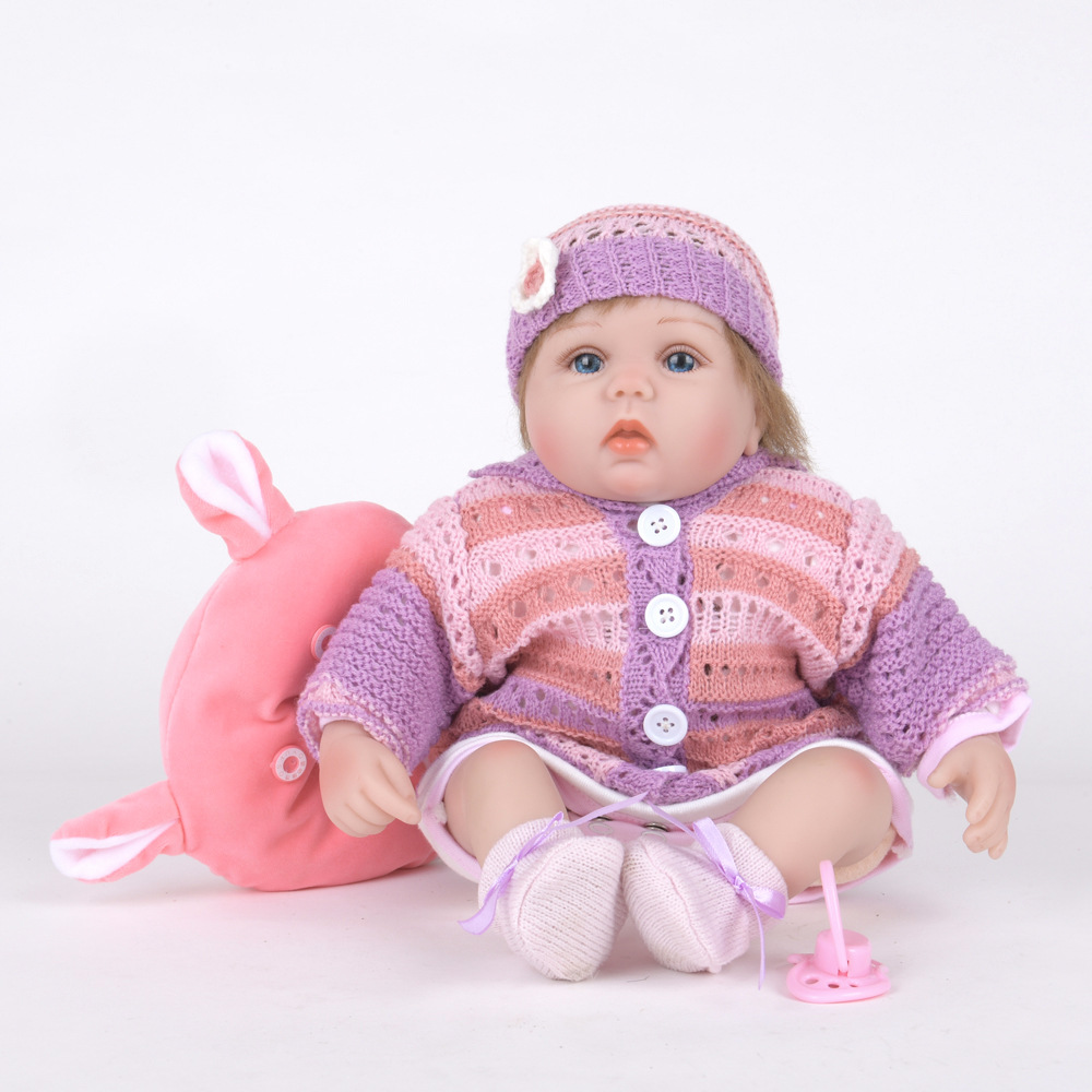 40cm Exquisite Newborn Girl Doll Silicone Soft Realistic Reborn Baby Dolls with Cloth Body Toy for Children Birthday Xmas Gift цены
