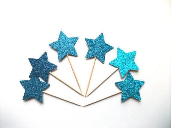 Blue Star Glittery Cupcake Toppers 1st Birthday Cake Topper Wedding Food Picks Decor Decorations Boy