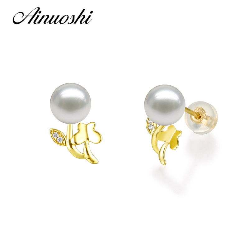AINUOSHI Trendy 18K Yellow Gold Butterfly Leaf Diamond Pearl Earrings Natural Fresh Water Pearl 6-6.5mm Women Earrings Jewelry