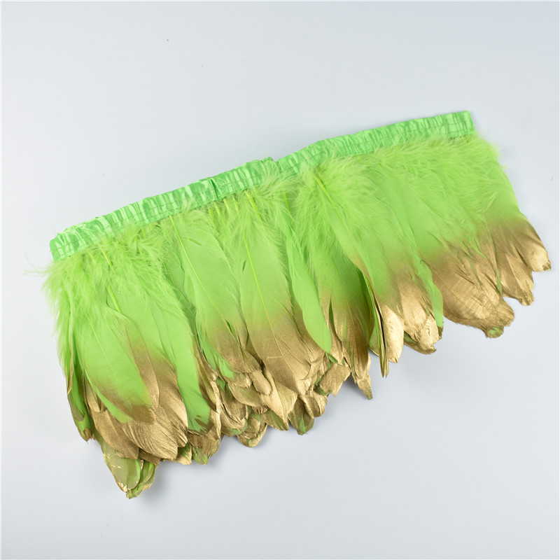 Wholesale 15-20CM Gold Dipped Apple Green Goose Feathers Trims Fringe Ribbons Feather For DIY Crafts Dress Skirt Clothing Plumes