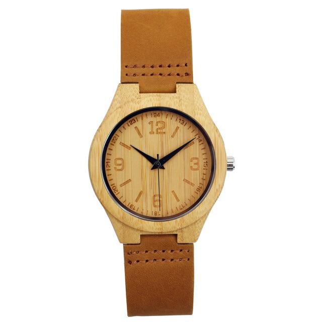 2017 New Genuine Leather Bamboo Wooden Watch Men's Women's Wrist Quarzt Watch Na