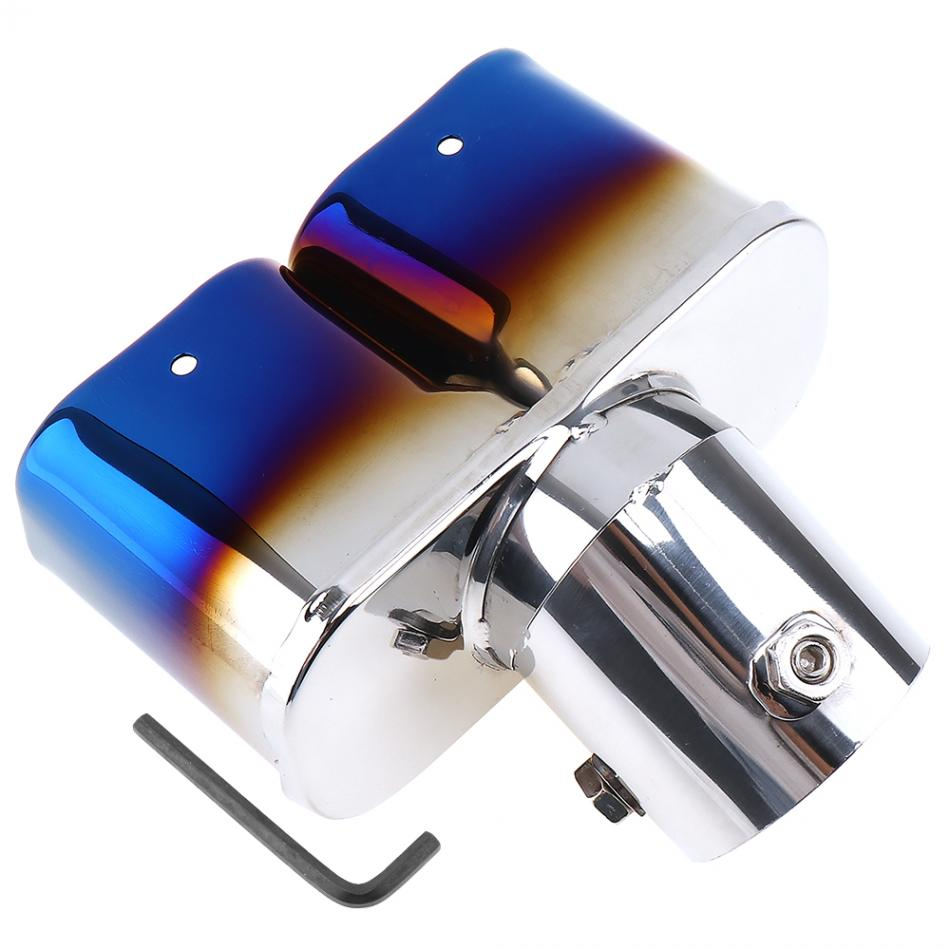 Car Vehicle Double Exhaust Muffler Stainless Steel Colorful Tail Throat Exhaust Pipe Trim 16x12cm Car Automobile in Mufflers from Automobiles Motorcycles