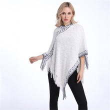 New Fashion Woman Pullover Knitted Sweater White Scarf For Woman Poncho Dot Tassel Pullover Lady Ponchos And Capes кенгуру женская santa cruz other dot pullover white