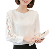 FUNOC Apparel White Chiffon Blouse Shirt Women 2017 Autumn Fashion Long Sleeve Ladies Office Shirt Casual