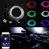 RGB Light LED Car Interior Neon Strip Light Sound Active Bluetooth Phone Control Car Interior Lighting 4CH/RGBW3CH/RGB