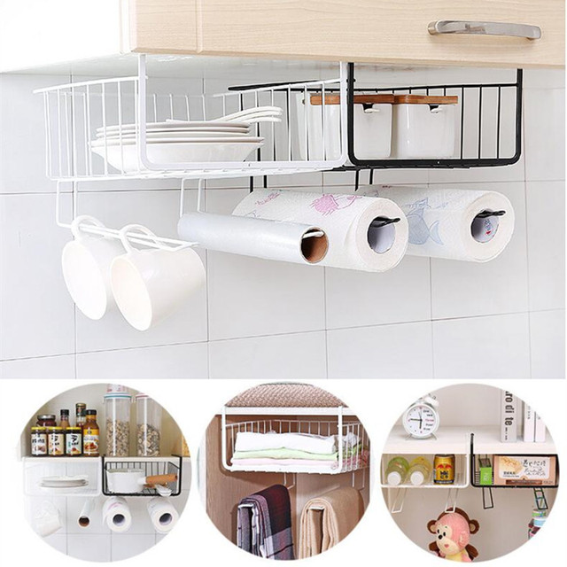 New Design Cabinet Organizer Under Shelf Basket Wrap Storage Holder Rack Multipurpose Kitchen
