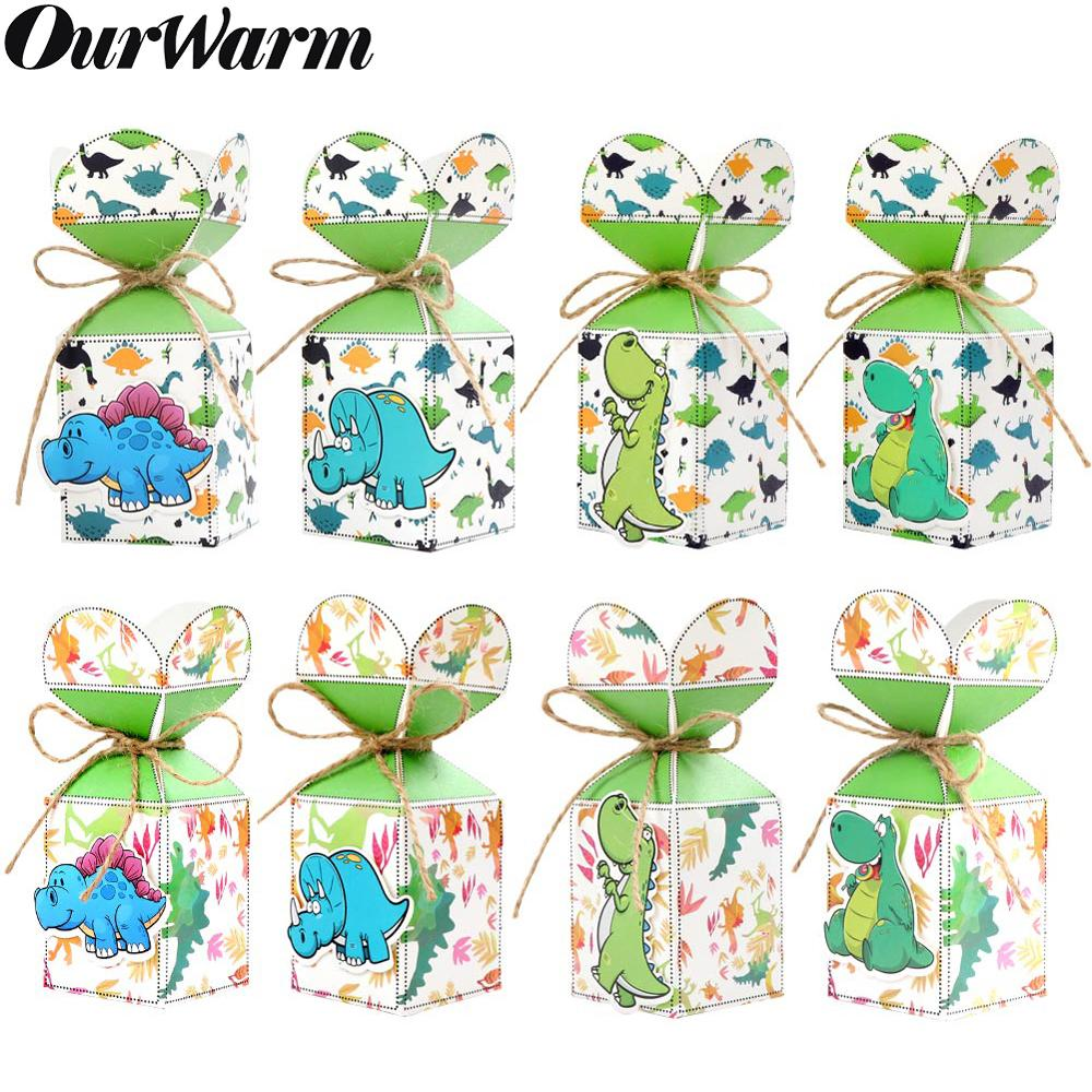 OurWarm Dinosaur Party Supplies 12pcs Candy Box Gift Bag Animal Jungle Birthday Party Decor Baby Shower Kids Gift Dinosaur Theme