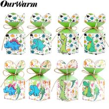 OurWarm Dinosaur Party Supplies 12pcs Candy Box Gift Bag Animal Jungle Birthday Decor Baby Shower Kids Theme