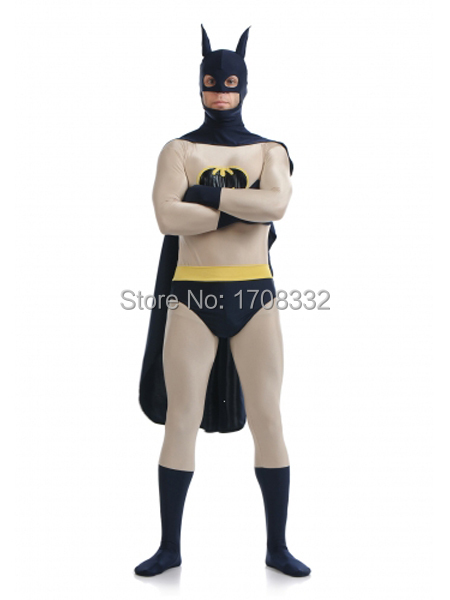 2015 New gray Batman Costume Spandex Zentai Full Body Batman Superheros Suit For Party Halloween costume