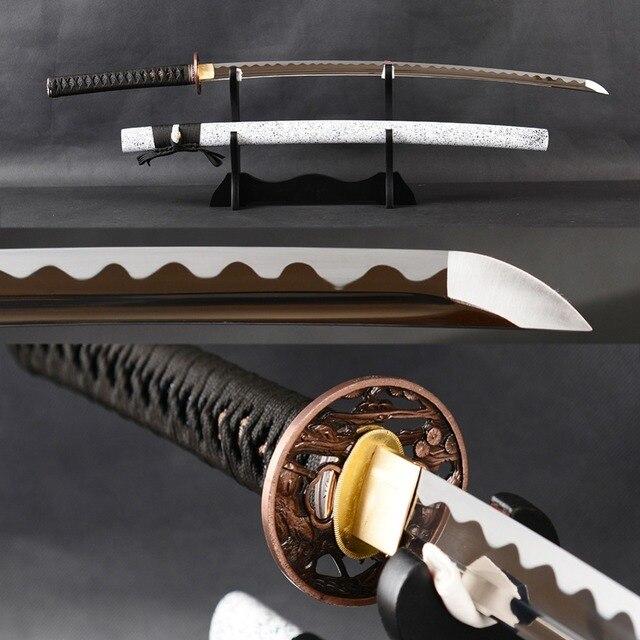 Combat Japonais € 115.94 12% de réduction|combat japonais Épée samouraï katana À la main  manganèse acier pleine saveur lame tranchante espada vintage