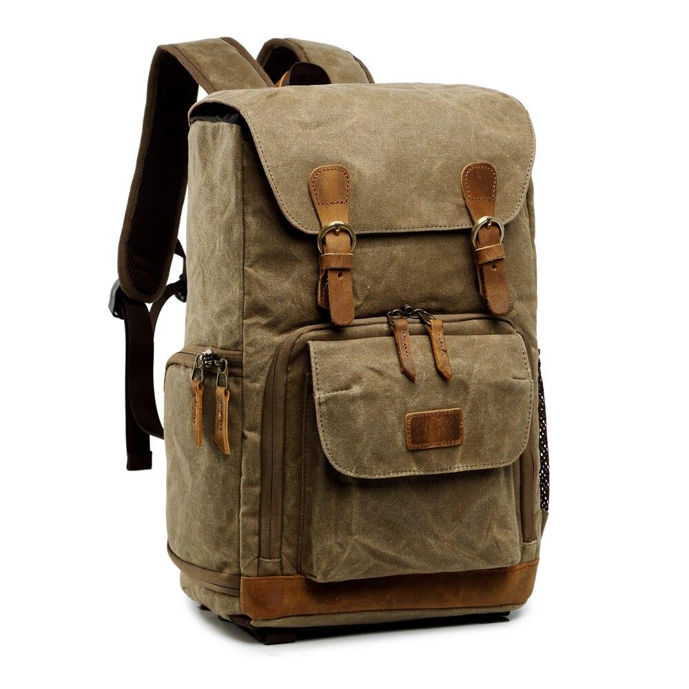 Toile étanche extérieure à la mode Vintage DSLR sac à dos hommes femmes photographie sac à bandoulière pour Canon Nikon Sony numérique - 3