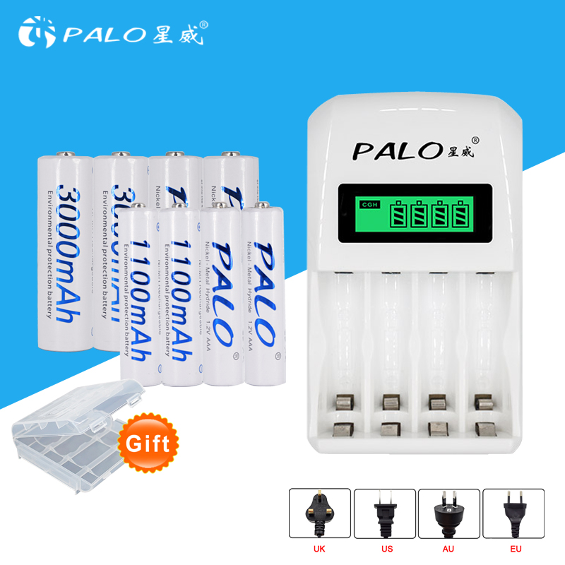 PALO LCD Charger lcd Display with 4 Slots Quick Smart Charger C907W for AA/AAA Ni-MH Ni-CD Battery+4pcs AA +4pcs AAA Batteries bty c704 a3 battery charger universel 4 slots usb charger with bty aaa 1350series 350mah 1 2v ni mh rechargeable battery