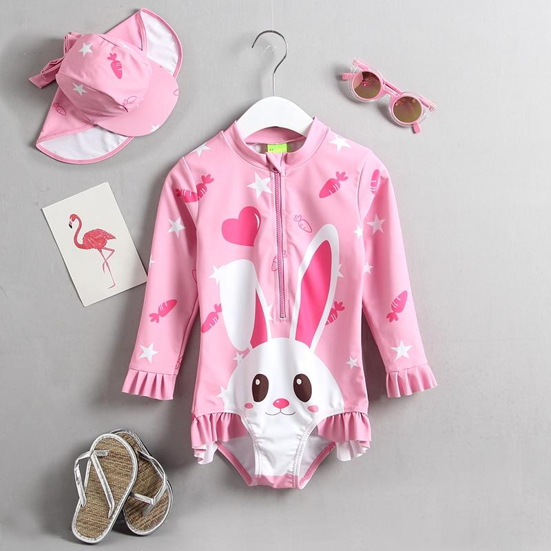 Lange Hülse Ein Stück Kleinkind Mädchen Badeanzug Cartoon Kaninchen Nette Kinder Bademode Badeanzug UPF50 + Meer Strand Sonnencreme