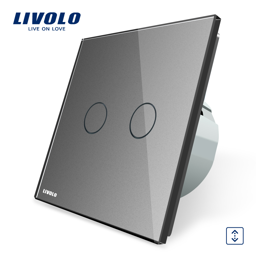 Livolo EU Standard Touch Control House Home Curtains Switch,AC 220~250V,Grey Crystal Glass Panel Wall Switch, VL-C702W-15 smart home touch control wall light switch crystal glass panel switches 220v led switch 1gang 1way eu lamp touch switch