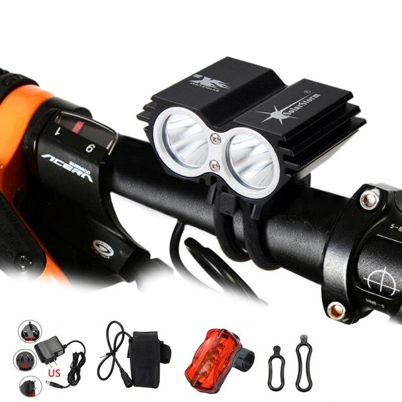 SolarStorm X2 XM-L T6 1600lm led bicycle light Headlight bike rear light+6400mAh Battery bike Accessories
