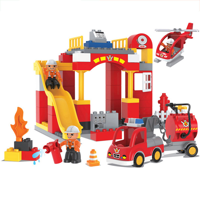 76PCS Big Blocks City Fire department Firemen Building Blocks set Kids DIY Brick Creative Toys for Kids Compatible legoing Duplo gorock 109pcs big blocks city fire department firemen building blocks set kids diy bricks creative toys compatible with duploe
