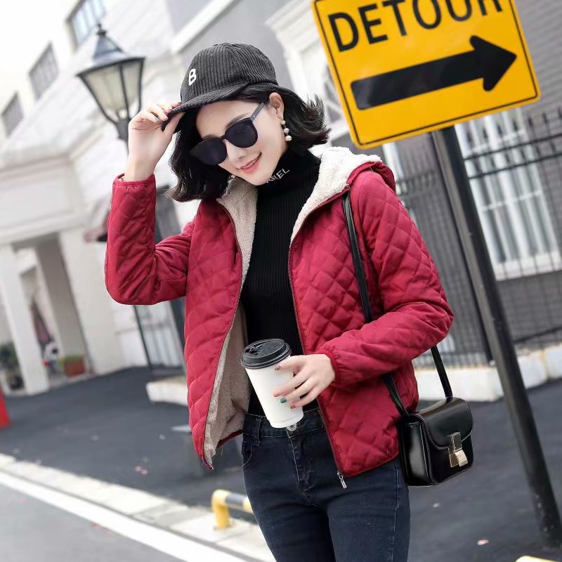 Autumn 2019 New   Parkas   Basic Jackets Female Women Plus Velvet Lamb Hooded Coats Cotton Winter Keep Warm Jacket Lady Tops