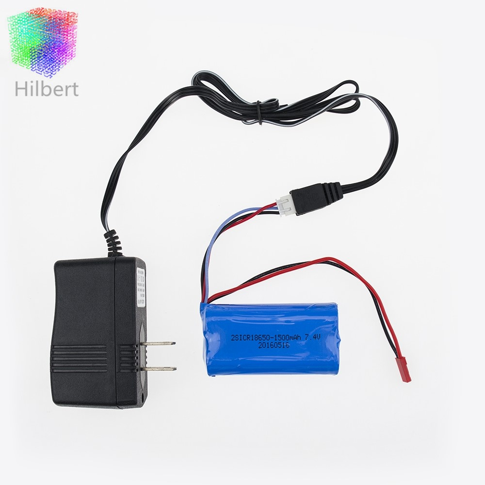 <font><b>7.4V</b></font> <font><b>1500mAh</b></font> ICR-18650mah <font><b>Battery</b></font> 1pcs and wall <font><b>charger</b></font> for MJX F 45 Helicopter Spare Parts DH 9053 9101 f45 9118 rc Helicopter image