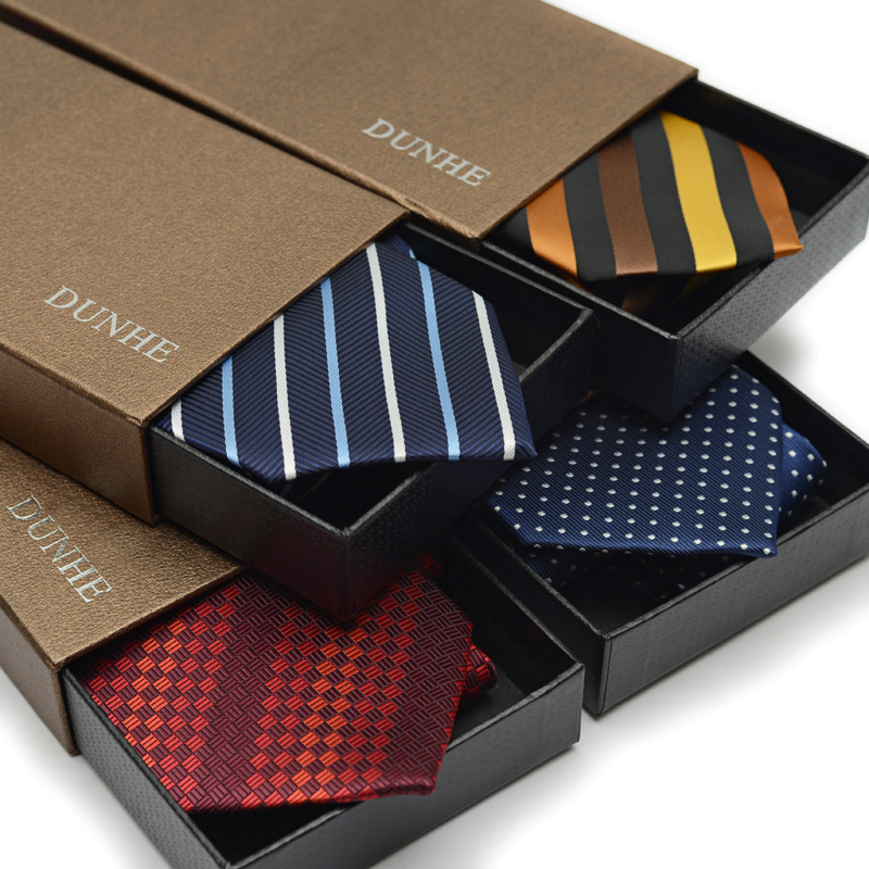 2017 New Brand Fashion 9cm Wide Formal Business Necktie Striped Woven Wedding Anniversary Ties Bridegroom Gravata With Gift BOX