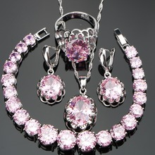Nickle Free Silver 925 Round Pink Stones Wedding Bridal Jewelry Sets Bracelets/Earrings/Pendant/Necklace/Rings For Women