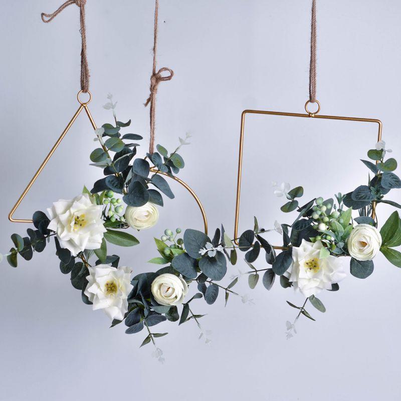 Ins explosion models Nordic geometric metal wreath hemp rope wall hanging set home soft simulation green plant Home Garden der